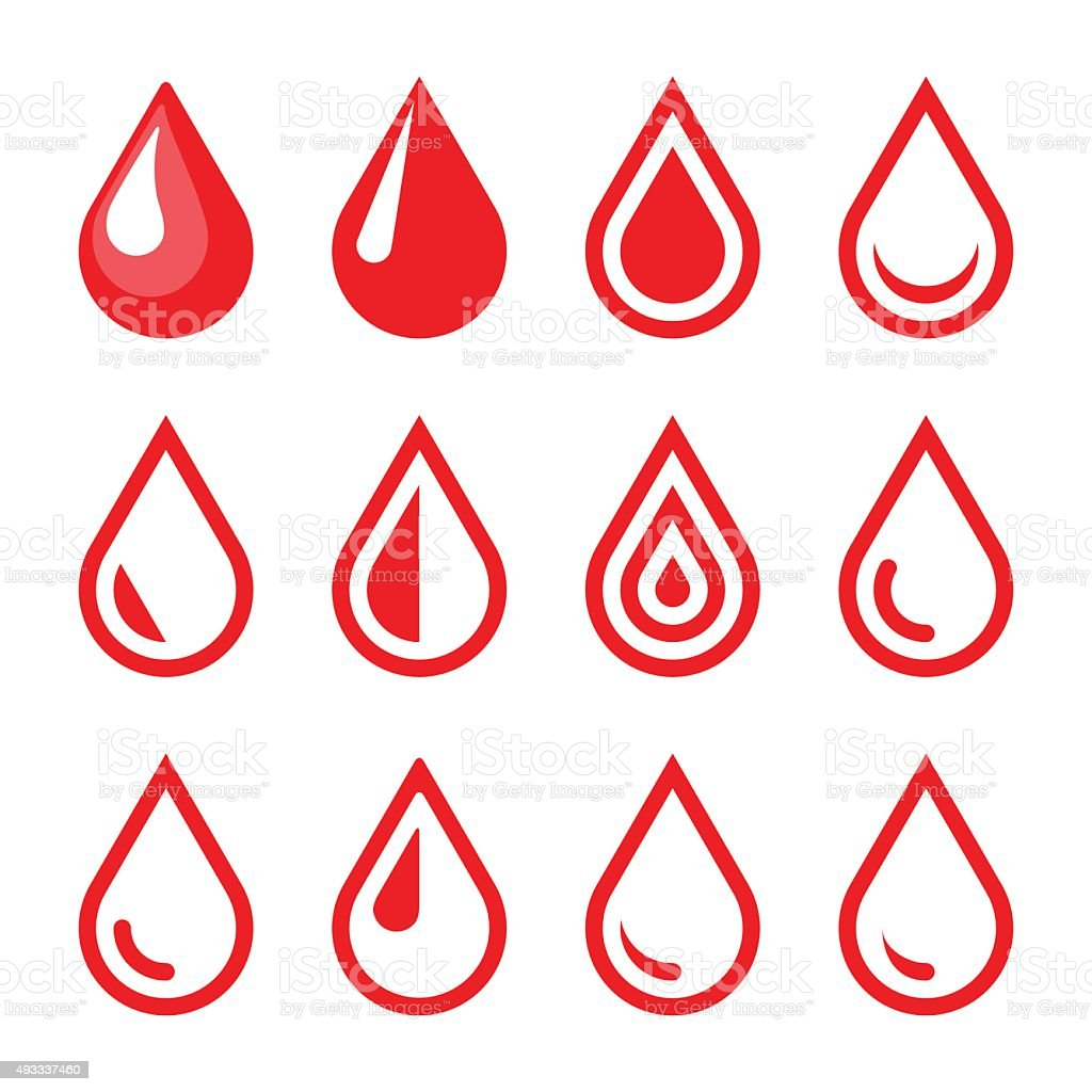 Blut Drop-Emblem. Logo Vorlage. Icon-Set. Vektor – Vektorgrafik