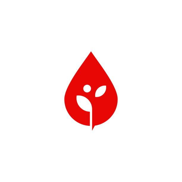 blood drop leaf sprout vector icon illustration - vegetable blood stock illustrations, clip art, cartoons, & icons