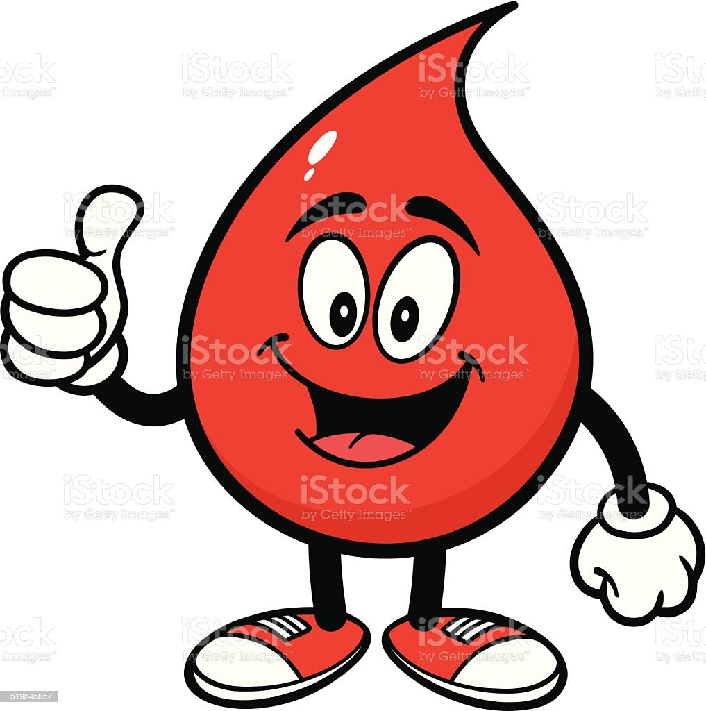 Blood Drop with Thumbs Up vector art illustration