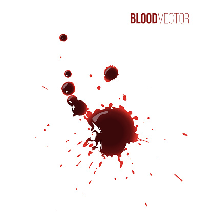 Blood drops. Red splattered stains, splash, drip liquid spots vector illustration. Murder crime scene textures on white background. Horror bloody scary collection of bloodstains