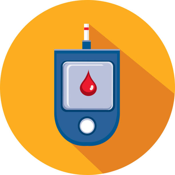 Blood Glucose Medical Flat Design themed Icon Set with shadow vector art illustration