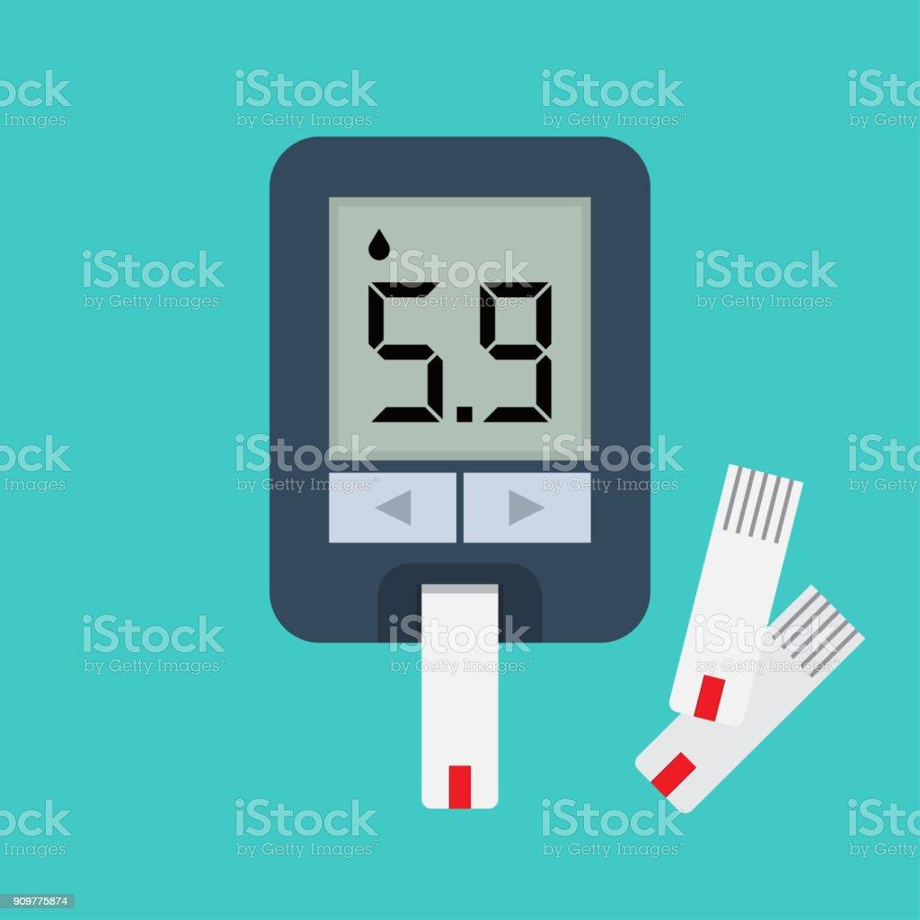 Blood glucose meter. Blood sugar readings. vector art illustration