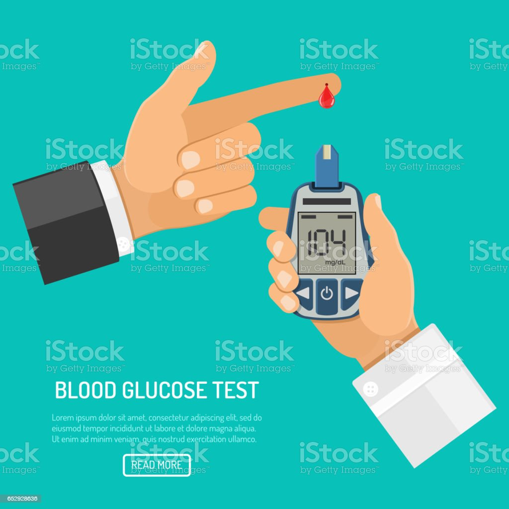 blood glucose meter in hand vector art illustration