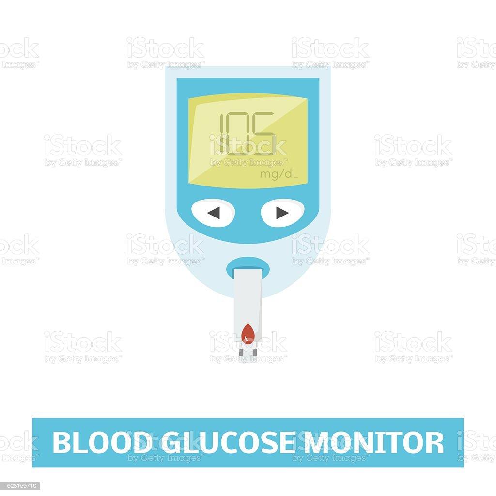Blood glucose monitor vector art illustration