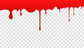 透明な背景に血。血が広がり、流れ落ちる。医療、健康、インターネットのバナーで使用することができます。