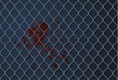 Vector illustration of a spot of blood on a wall behind a metal grid.