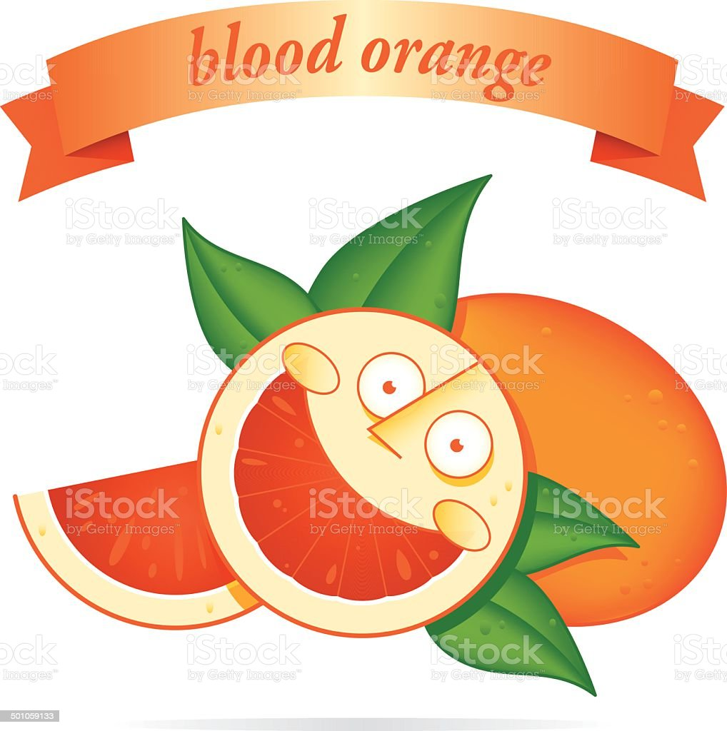 blood orange character vector art illustration