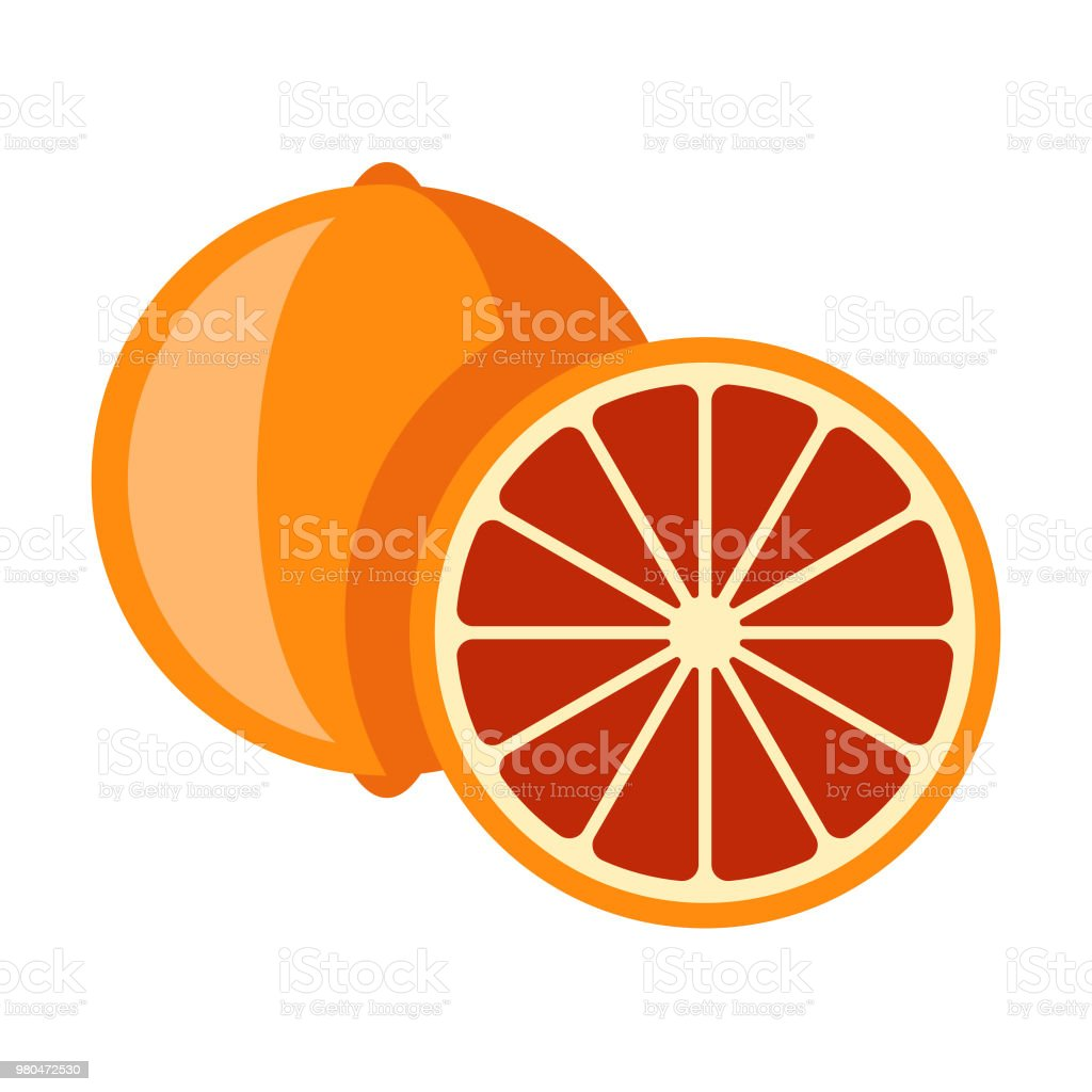Blood Orange Flat Design Fruit Icon vector art illustration