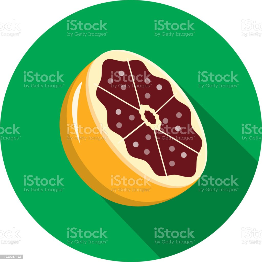 Blood orange halved Fruit Flat Design themed Icon with shadow vector art illustration