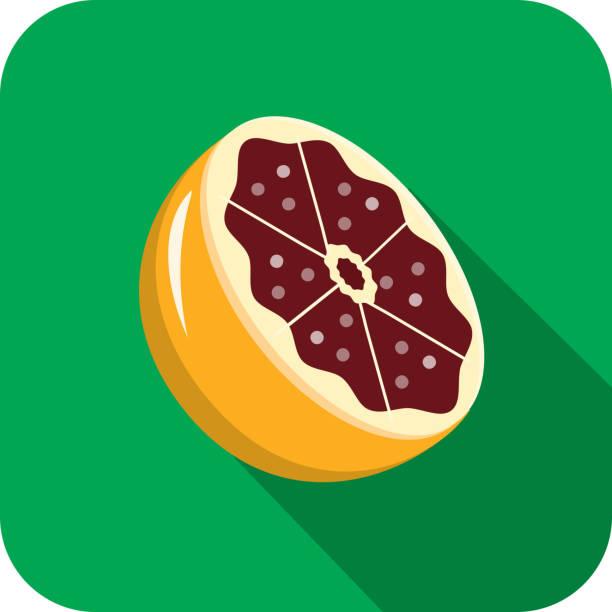 Blood orange halved Fruit Flat Design themed Icon with shadow vector art illustration