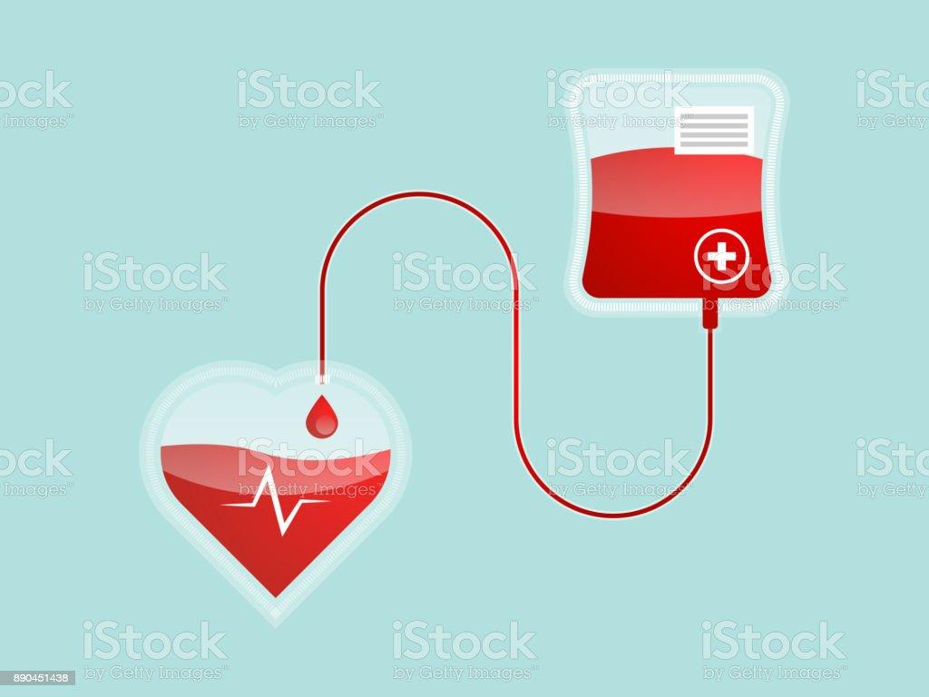 blood pour form blood bag to heart shape vector art illustration