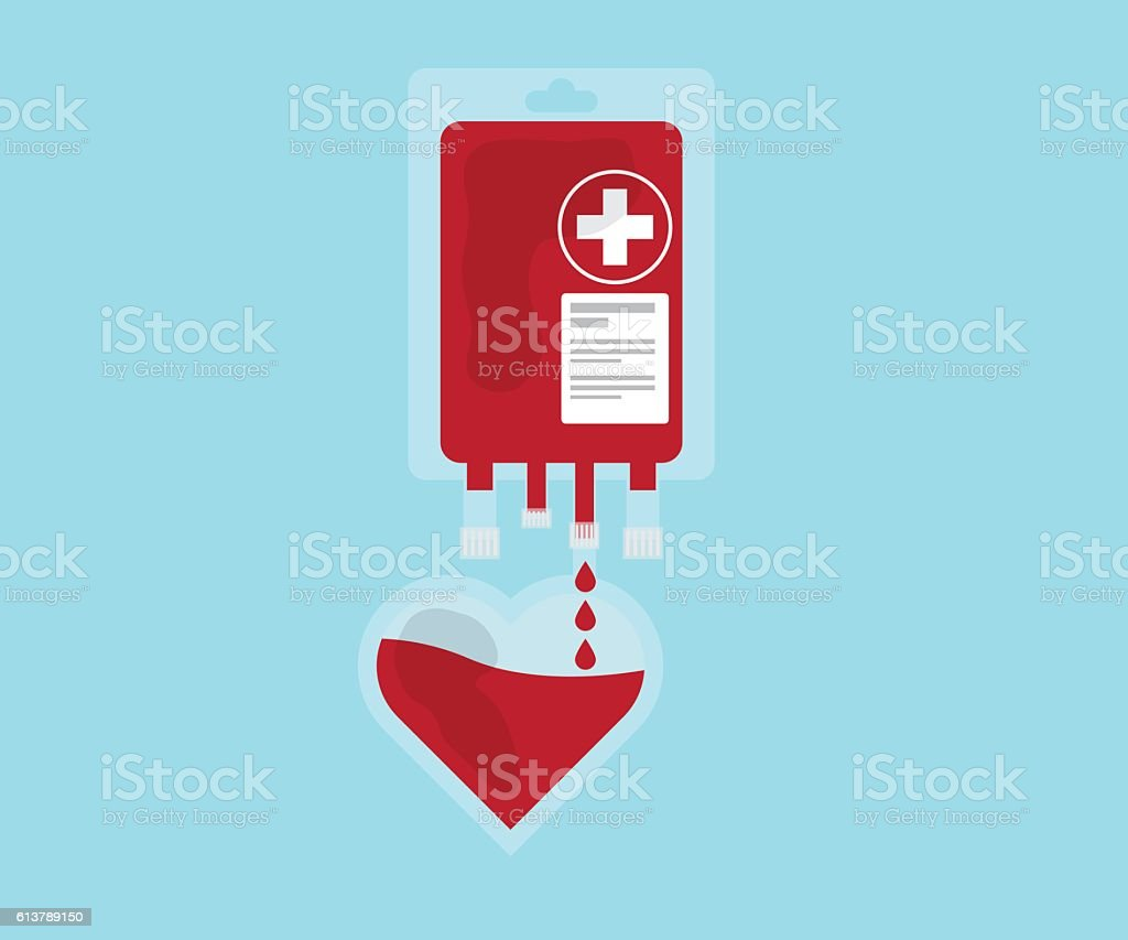 blood pour from blood bag to heart vector art illustration