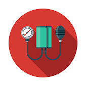 Blood Pressure Gauge Flat Design Medical Supplies Icon with Side Shadow