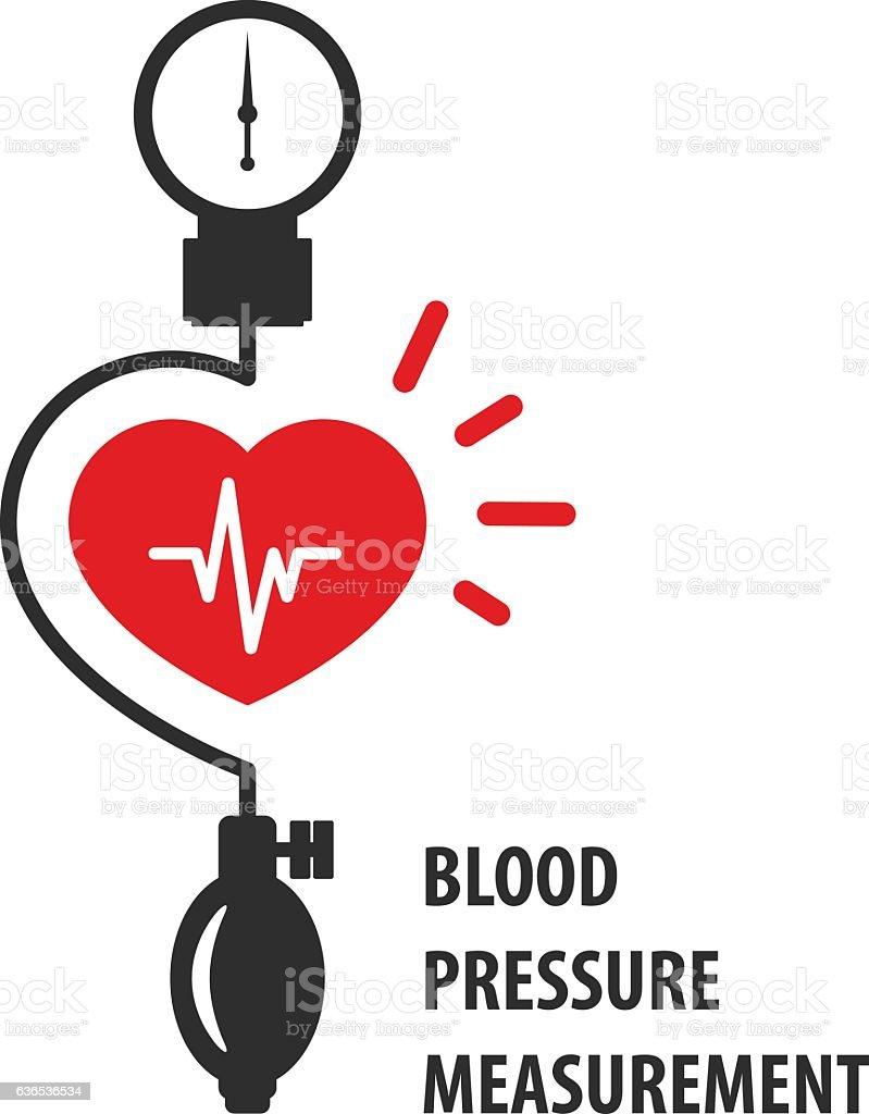 Blood pressure measurement icon - heart and sphygmomanometer vector art illustration
