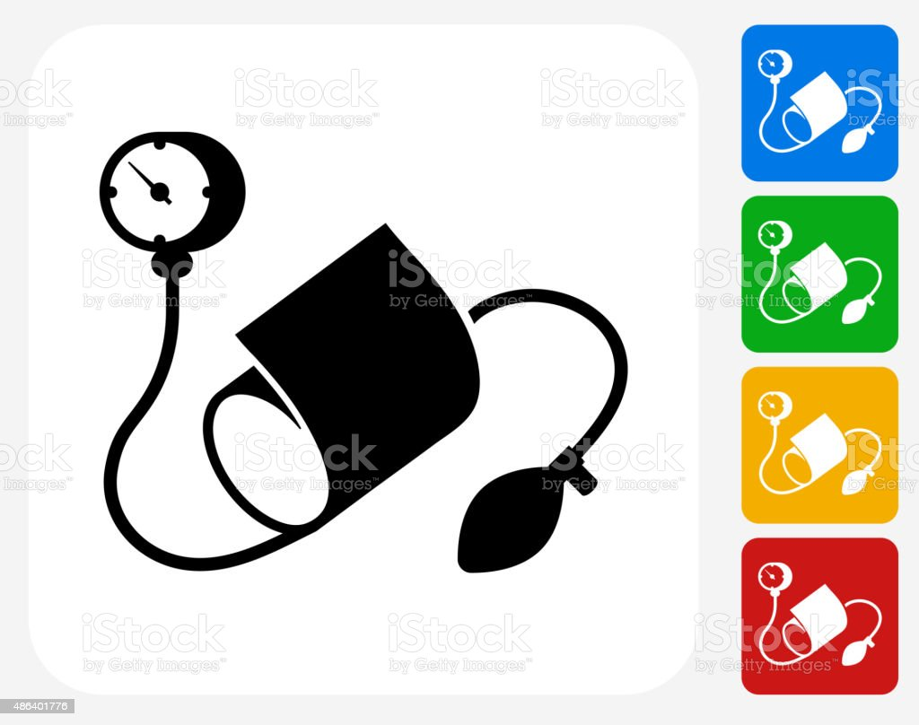 Blood Pressure Monitor Icon Flat Graphic Design vector art illustration
