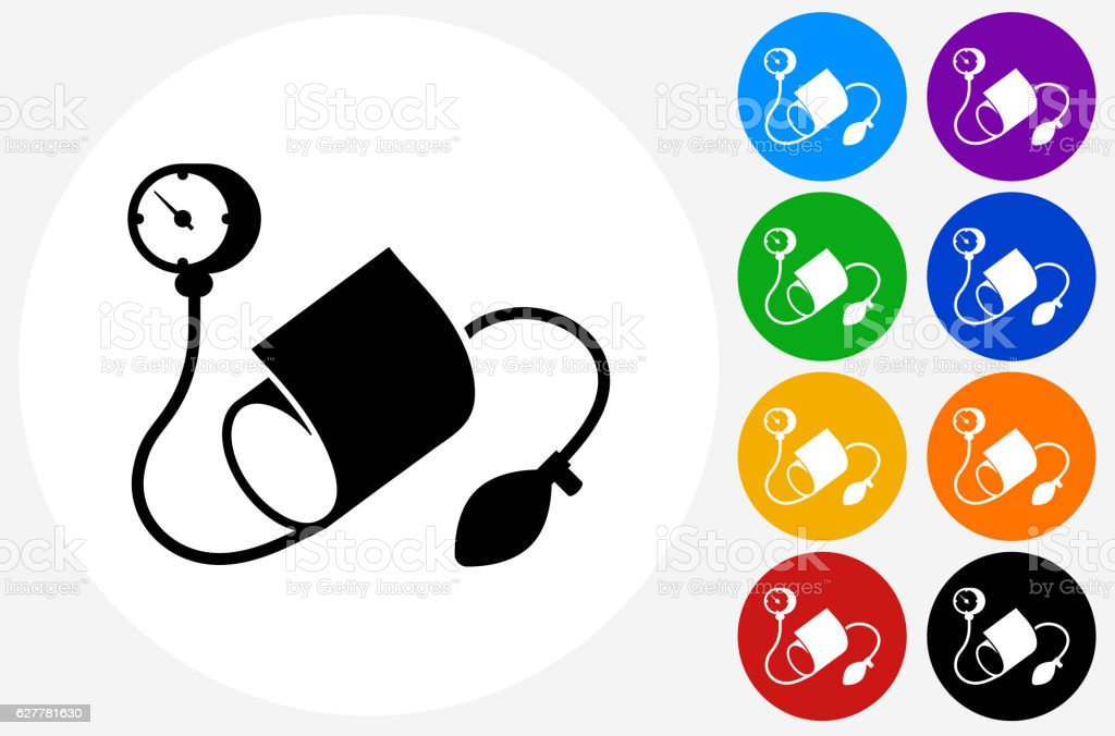 Blood Pressure Monitor Icon on Flat Color Circle Buttons vector art illustration