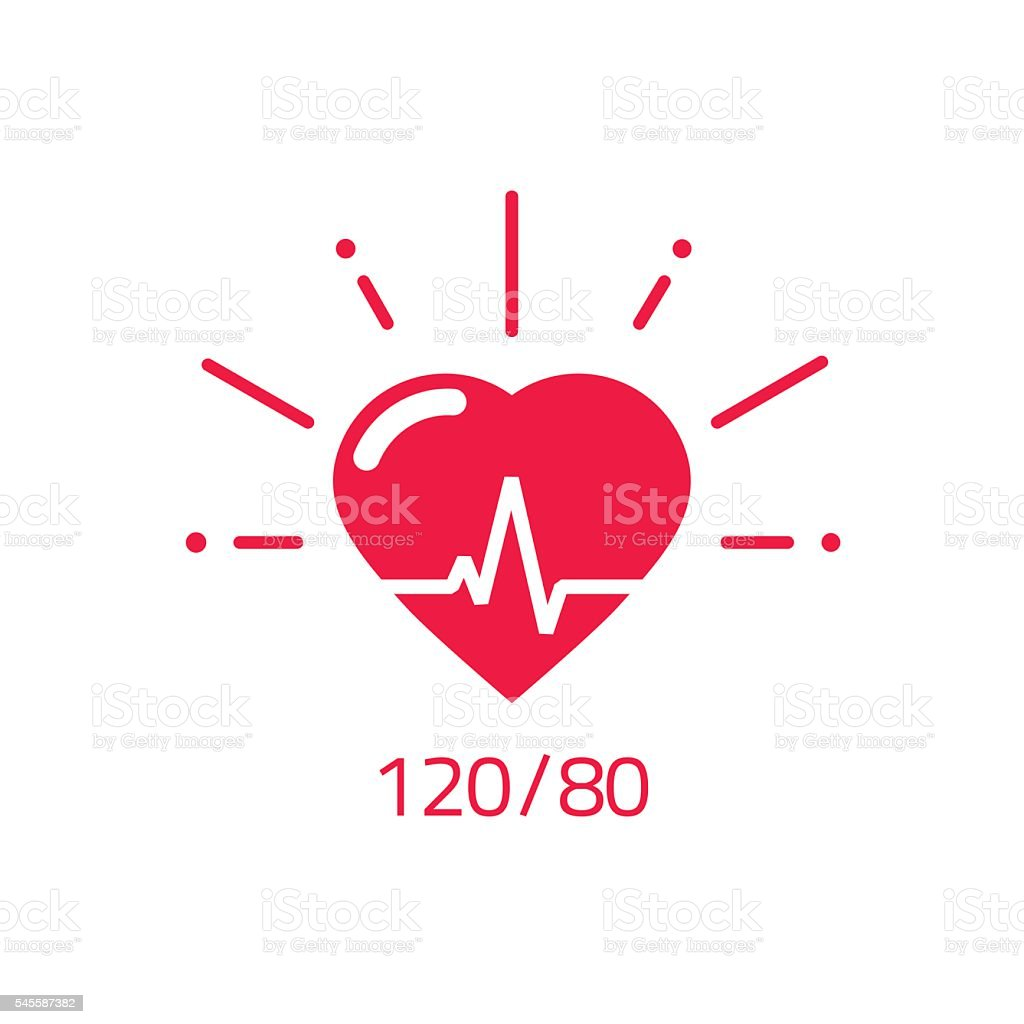 Blood pressure vector icon, good health heart logo, healthy pulse vector art illustration