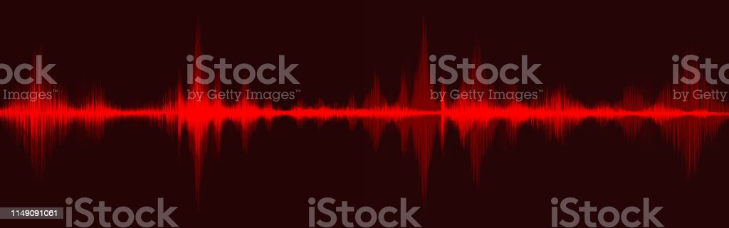 Blood Red Digital Sound Wave Low and Hight richter scale on Black...