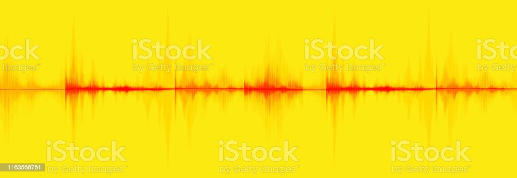 Blood Red Digital Sound Wave Low and Hight richter scale on yellow...