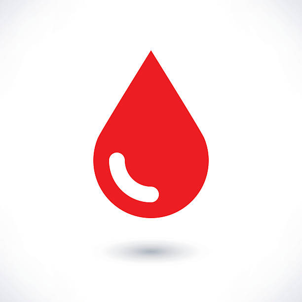 Blood red drop icon with gray shadow on white vector art illustration