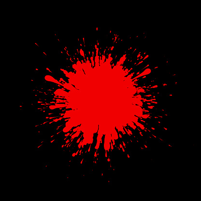 Blood splash drop paint on black background