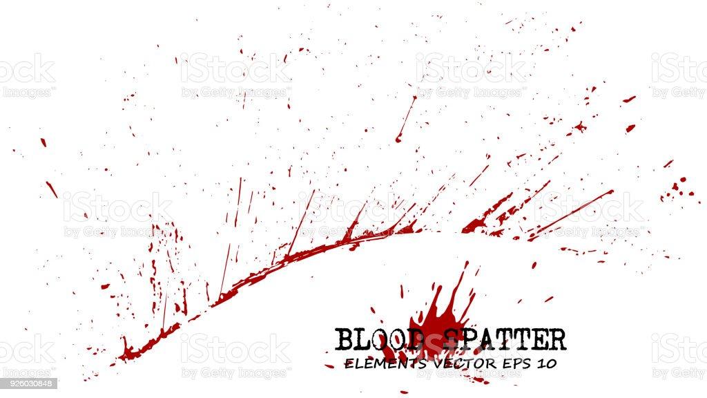 Blut splatter-Elemente auf weißem Hintergrund. Kriminelle Konzept. Vektor – Vektorgrafik