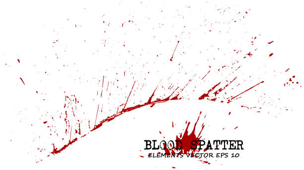 ilustraciones, imágenes clip art, dibujos animados e iconos de stock de sangre esparcen elementos sobre fondo blanco. concepto penal. vector de - sangre