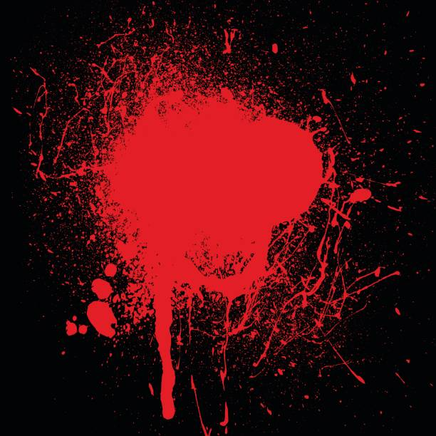 Blood splatter Halloween background with red blood splatter on black crime scene stock illustrations
