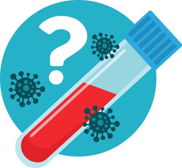 illustrazioni stock, clip art, cartoni animati e icone di tendenza di blood test for virus and infection - hand on glass covid