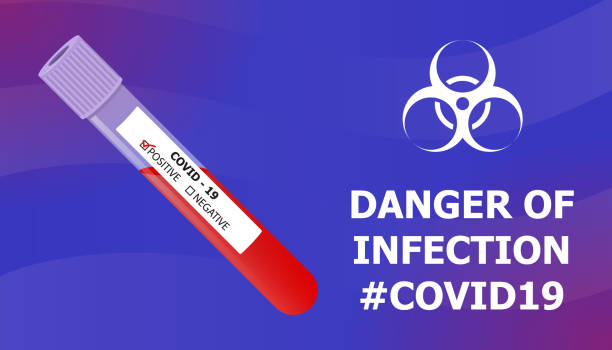 blood test tube danger of infection illustration - covid testing stock illustrations