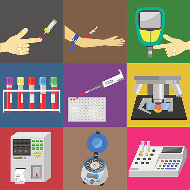 Blood test Blood test with blood sampling and medical equipment. Color vector icons set centrifuge stock illustrations
