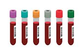 Vector image of various blood test tubes