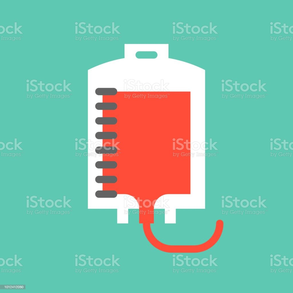 Blood transfusion, blood bag, medical and hospital related flat design icon set vector art illustration