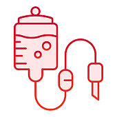 Blood transfusion flat icon. Blood dropper vector illustration isolated on white. Blood donate gradient style design, designed for web and app. Eps 10