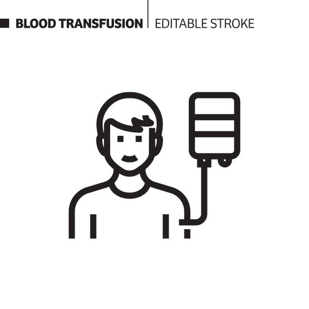 Blood Transfusion Line Icon, Outline Vector Symbol Illustration. Pixel Perfect, Editable Stroke. Blood Transfusion Line Icon, Outline Vector Symbol Illustration. Pixel Perfect, Editable Stroke. cancer patient stock illustrations