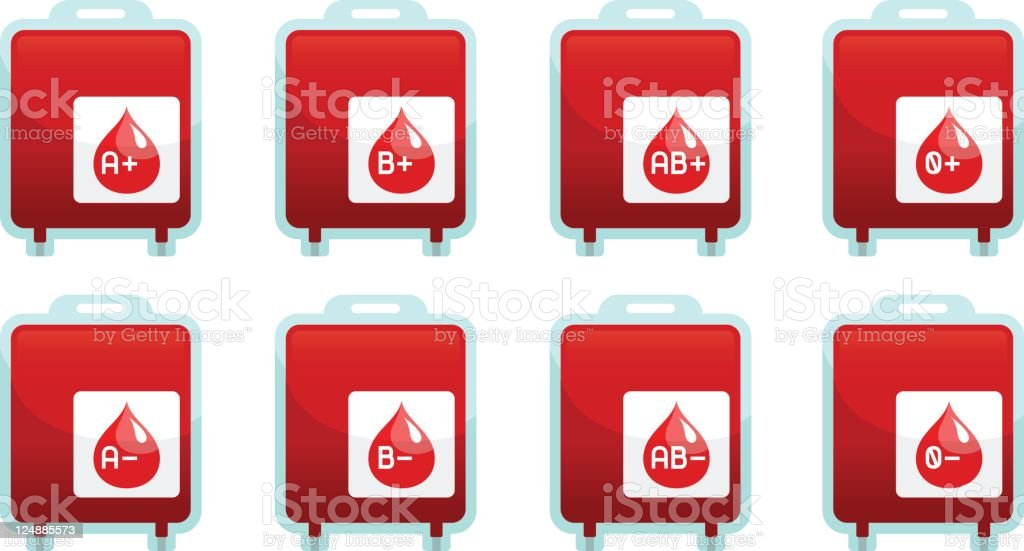 Blood Type Pack Icon Set Infographics royalty-free stock vector art