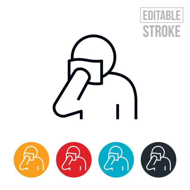 Blood Vial Sample Thin Line Icon - Editable Stroke vector art illustration