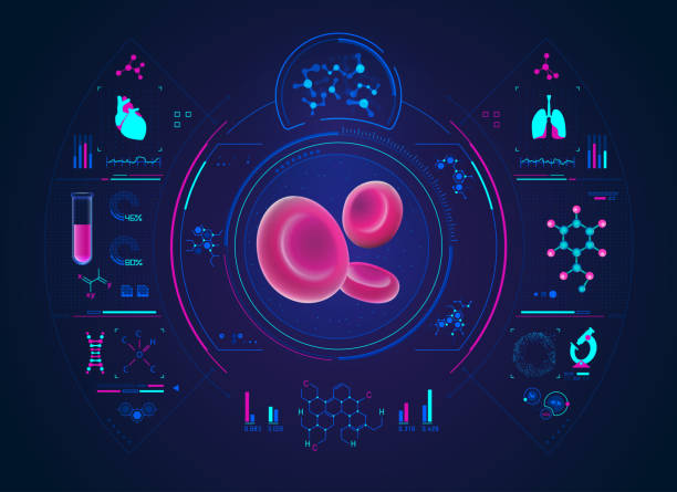 bloodCelltest concept of medical health care technology, blood cells in 3D with science analysis interface hemoglobin stock illustrations