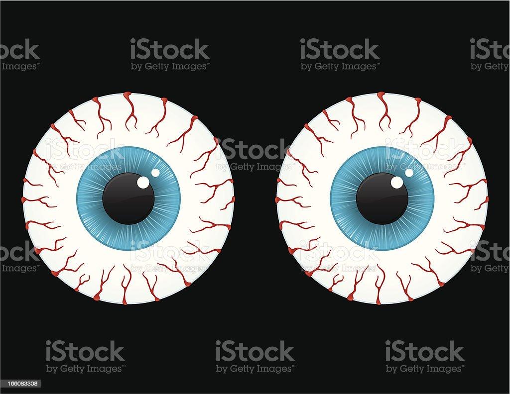 Bloodshot eyes vector art illustration