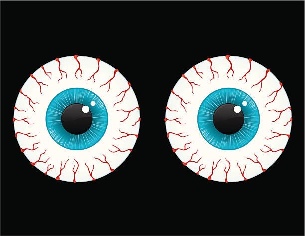 bloodshot глаза - глазное яблоко stock illustrations