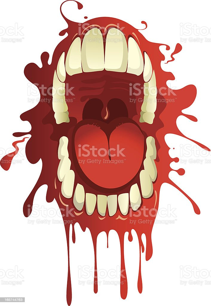 Blood-stained mouth vector art illustration