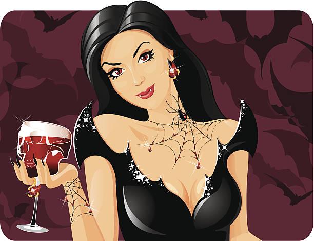 Bloodthirsty vamp vector art illustration