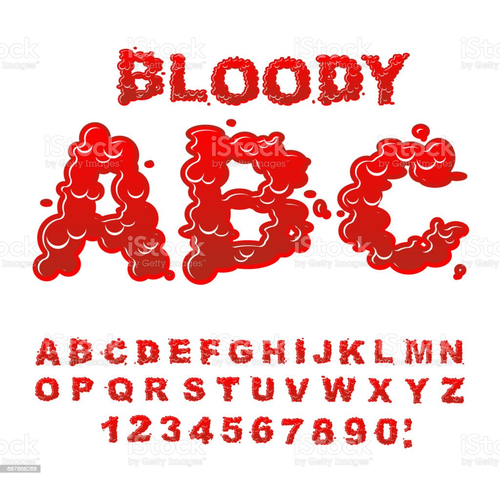 Bloody Abc Red Liquid Letter Fluid Lettring Blood Font Of