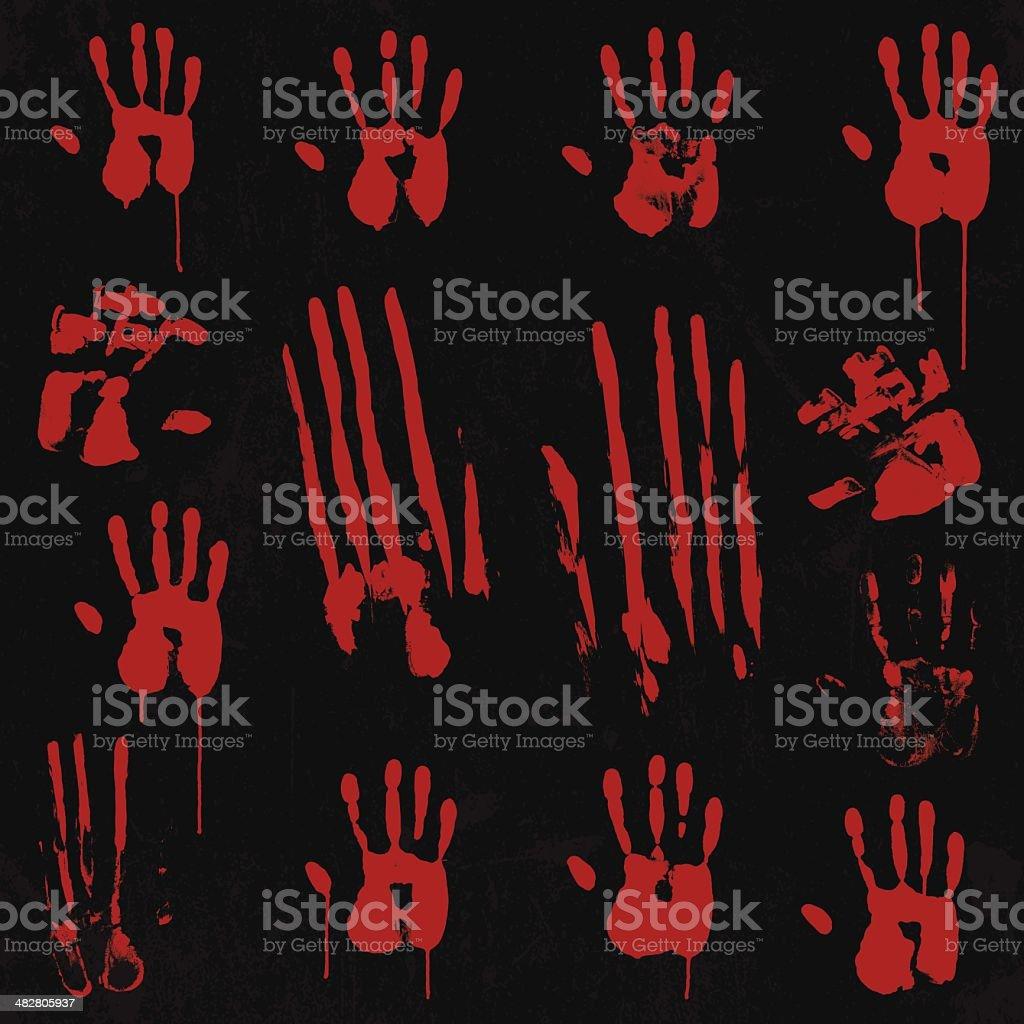 Bloody Hand Print Element Set 01 vector art illustration