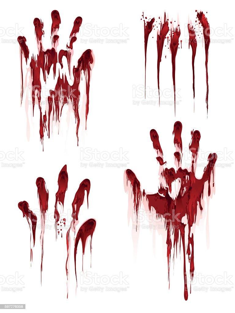 Bloody hand print on white background – Vektorgrafik