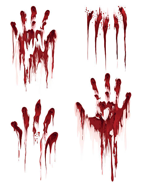Bloody hand print on white background vector art illustration