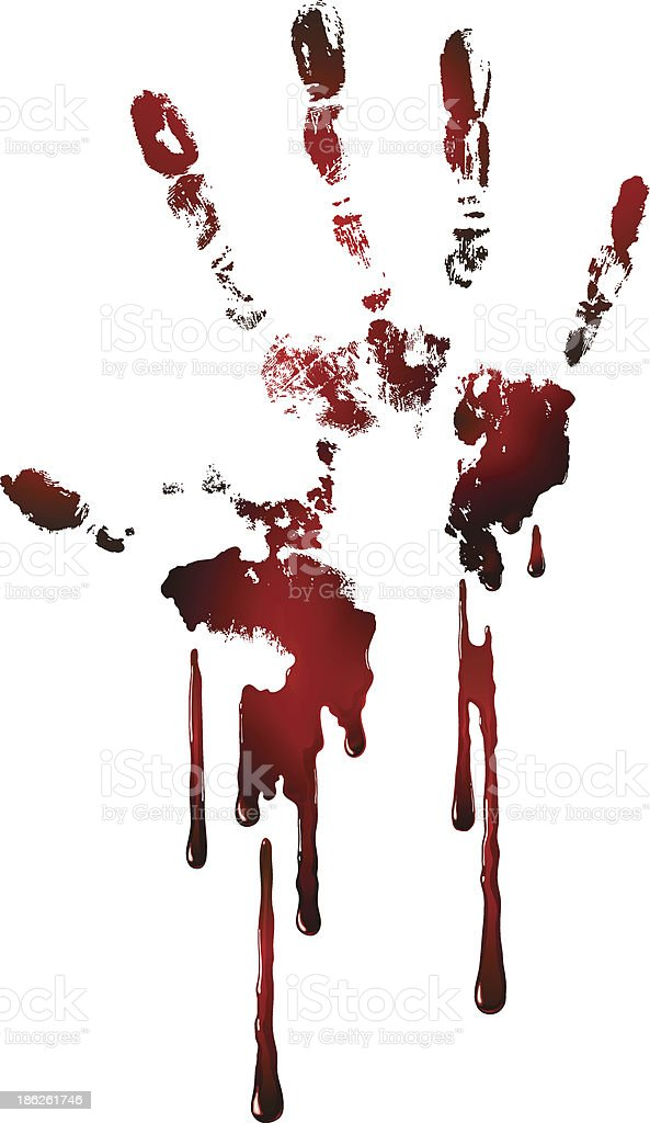 bloody hand print vector art illustration