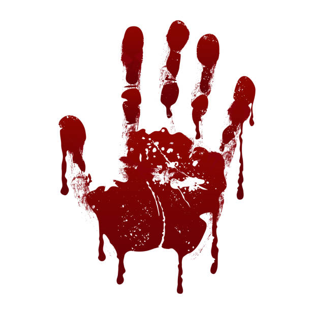bloody handprint. horror dirty scary blood vector background - handabdruck stock-grafiken, -clipart, -cartoons und -symbole