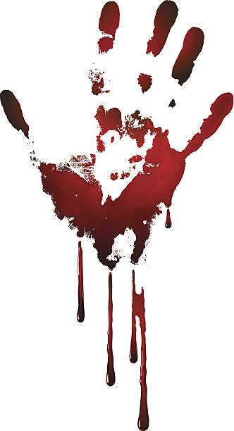 bloody handprint vector art illustration