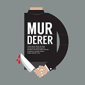 Bloody Knife In Murderer's Hand